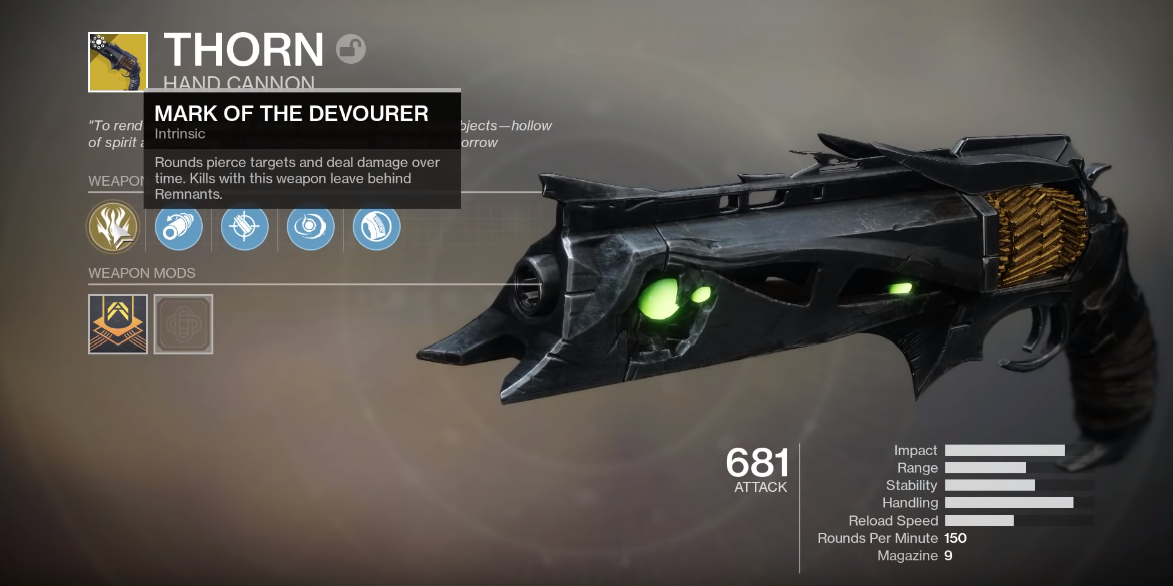 destiny 2 thorn perks screenshot