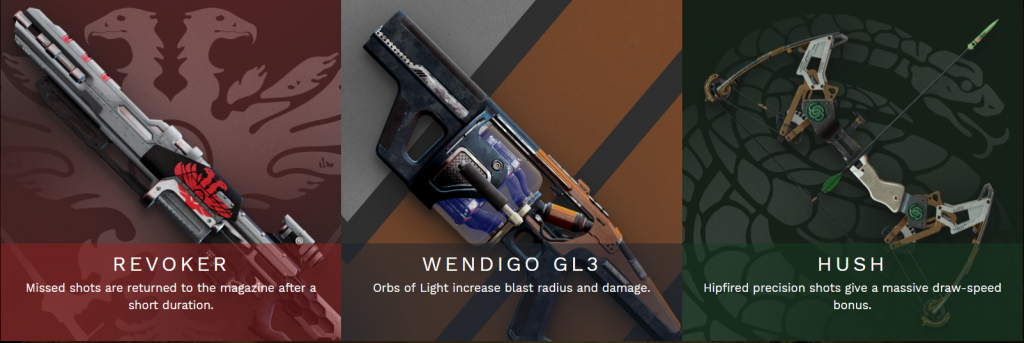 destiny 2 pinnacle weapons